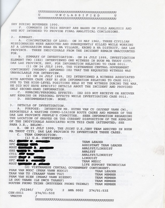 Unclassified report, 1999
