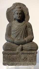 Gray Schist Figure Seated Buddha (1)