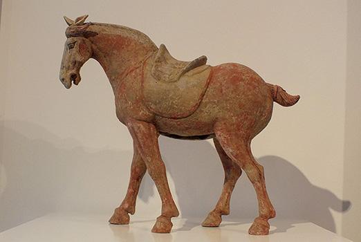 Painted Grey Pottery Saddle Horse