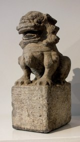 Large Gray Stone Seated Lion (3)