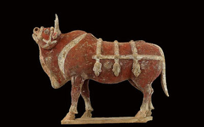 Large Impressive Pottery Ox