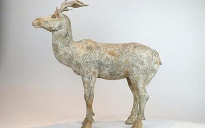 Painted Grey Pottery Deer