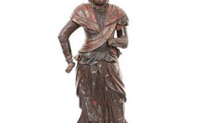 Rare Polychrome Wood Figure Taishakuten