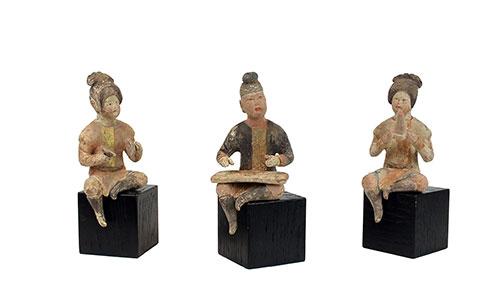 Three Tang Pottery Musicians