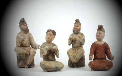 Painted Pottery Figures of Male Musicians