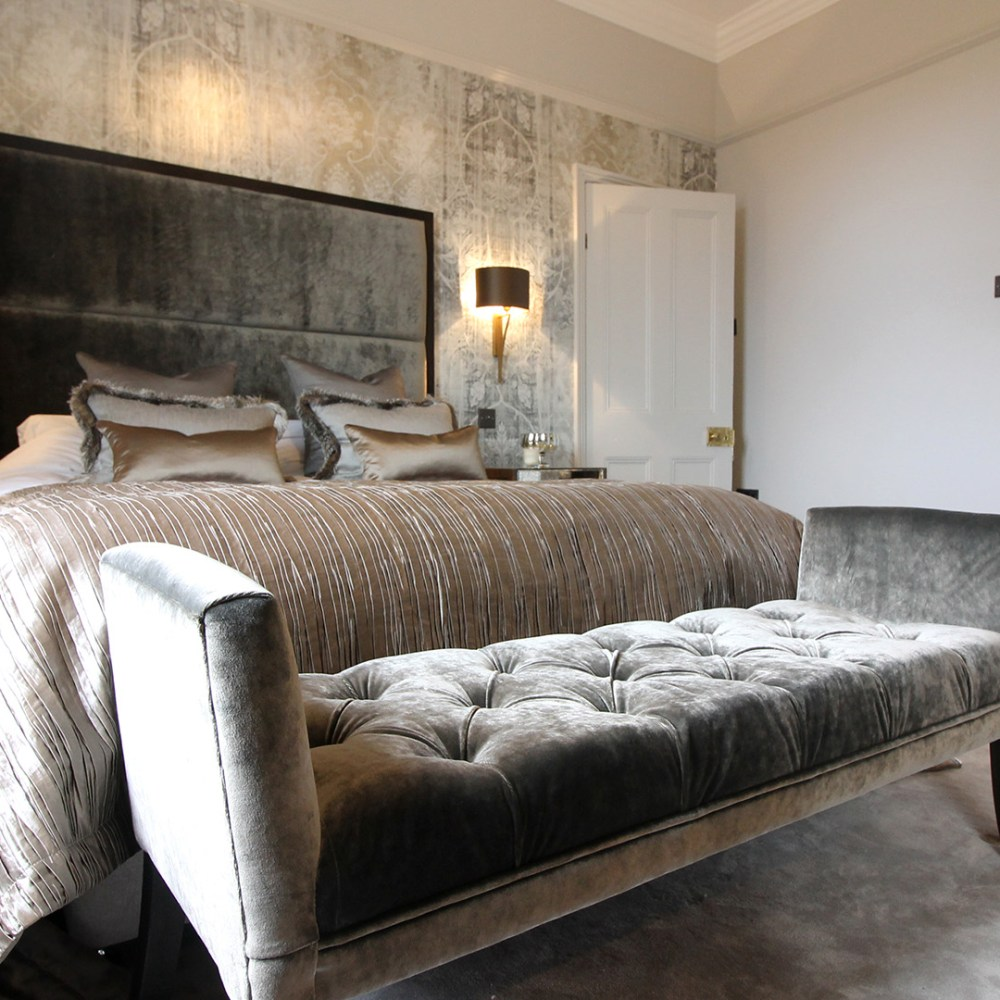Luxurious master bedroom. Interior design in Leeds by Beckett & Beckett Interiors