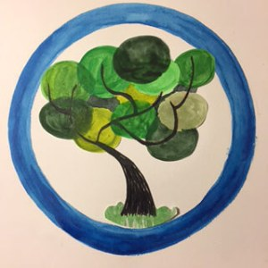 Green tree within a blue circle