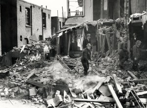 Rescue squad volunteers search the wreckage of bombed houses in South Molton Road, Canning Town, September 1940. Corrugated-steel Anderson shelter to the left. (Newham Heritage and Archive collection.)