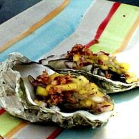 Grilled Oysters with Mango Pico de Gallo