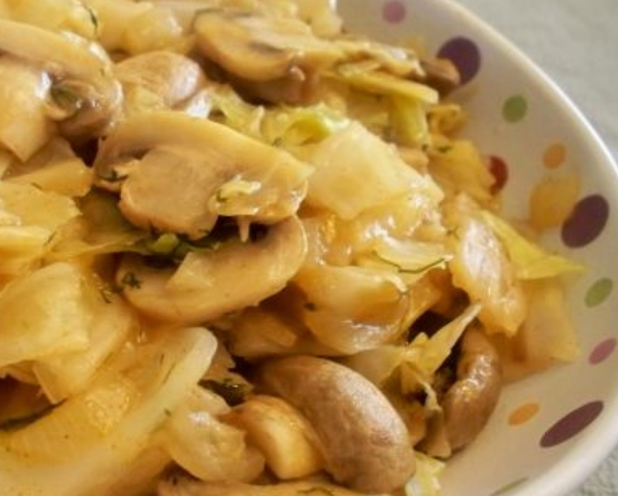 Green Cabbage and Mushrooms