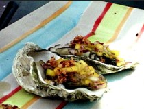 Grilled Oysters with Mango Pico de Gallo and Red Chili Horseradish