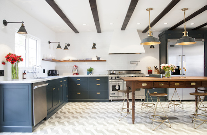 Navy brass modern rustic and white kitchen