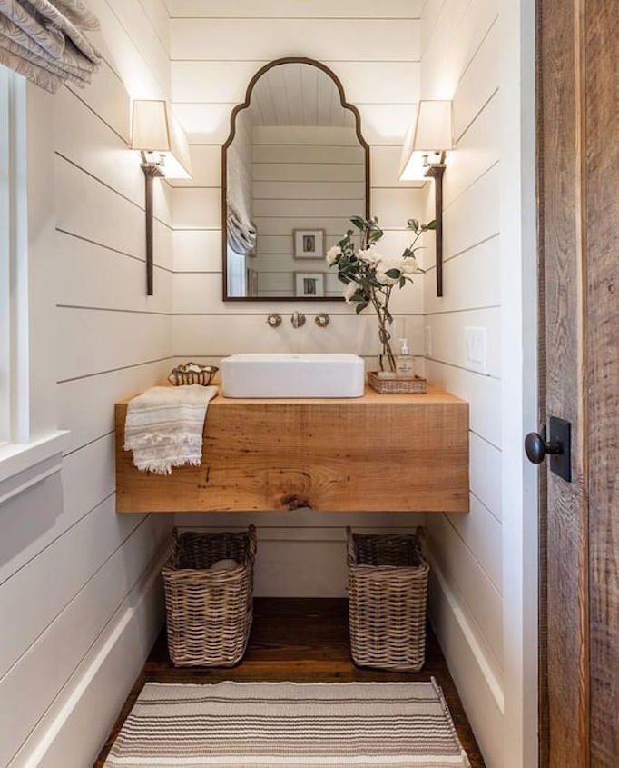 Floating Wood Vanity + A Unique Mirror. Wright Design