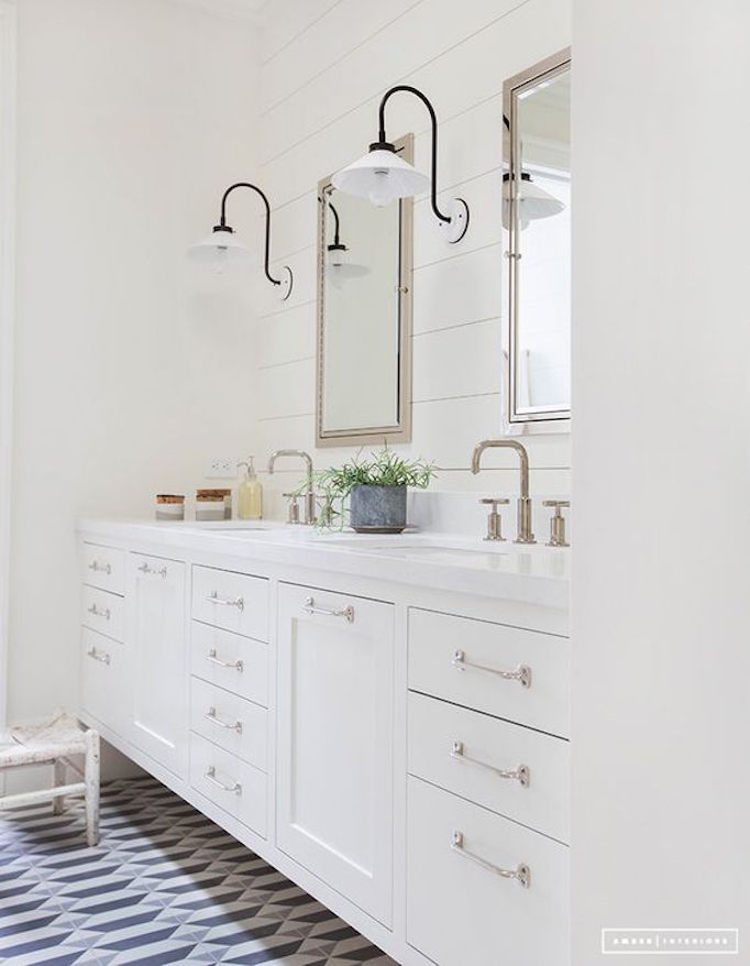 farmhouse sconces geometric tile - Modern Farmhouse Bathroom