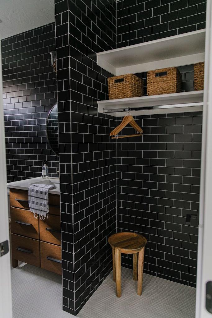 Project Reveal Modern Black Tile Bathroombecki Owens