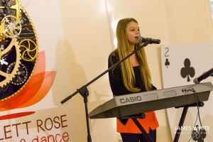 Aleisha - one of Becki's singing pupils - performing at The Mad Hatters Charity Tea Party 2014