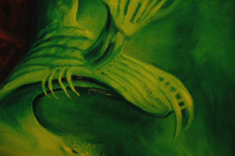 Paint Blog 3 detail, green tongue.  Click to open in a new window.