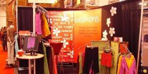 Beckons Yoga Clothing tradeshow booth backdrop