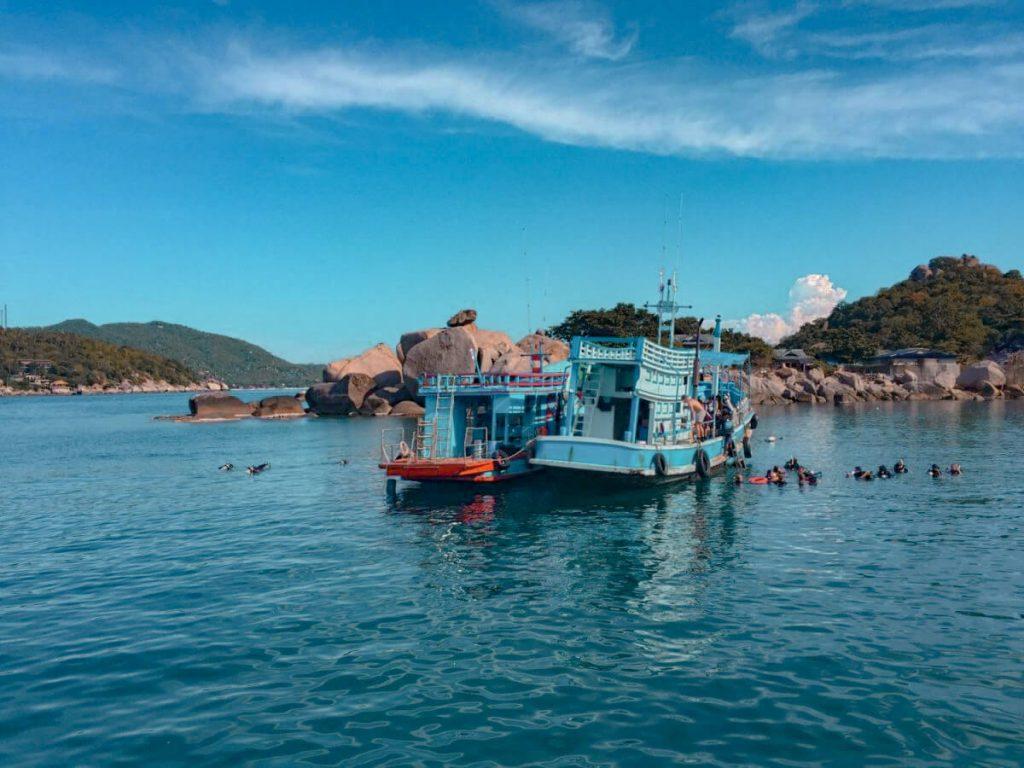 A scuba diving boat in Koh Tao