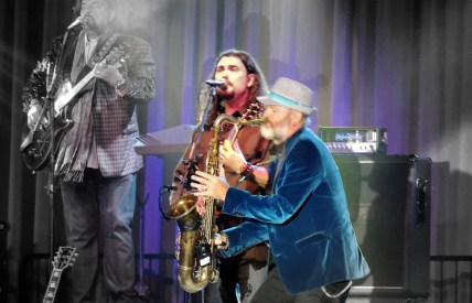Alastair Greene is lead guitarist with Todd Cooper playing the saxaphone.