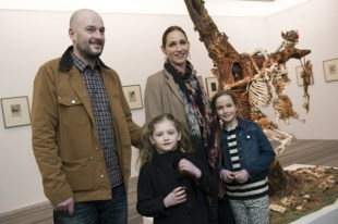 Ban those children from that art gallery! Mr Chapman with his children.
