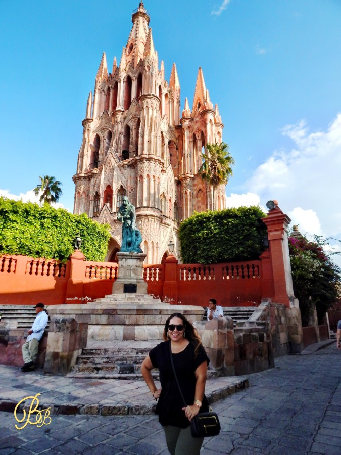 Becky with church in San Miguel de Allende