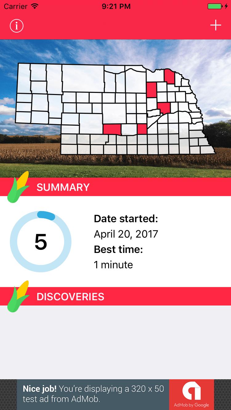 Nebraska app screenshot of April progress