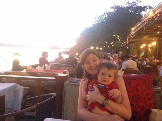 family dinner at sunset