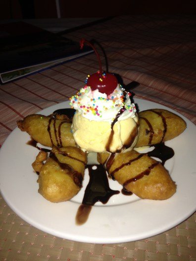 bananas fritter with coconut ice cream
