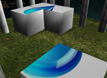 COLLISION AND OBJECT INTERACTION: Collision spheres used for block/camera and block/block collision. To push a block, direction is determined based on position of camera in relation to block, and then block is translated accordingly.