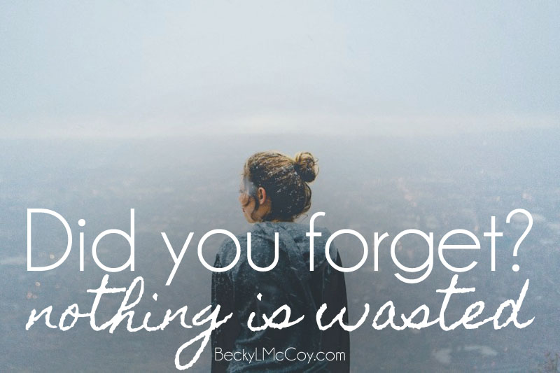 Did You Forget? Nothing is Wasted | BeckyLMcCoy.com
