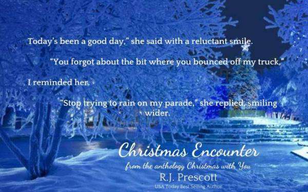 """""""'Today's been a good day,' she said with a reluctant smile. 'You forgot about the bit where you bounced off my truck,' I reminded her. 'Stop trying to rain of my parade,' she replied, smiling wider."""" Christmas Encounter by R.J. Prescott"""