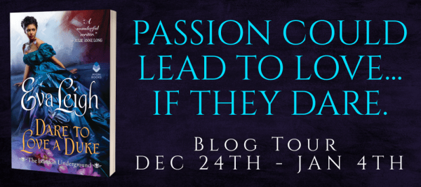 """DARE TO LOVE A DUKE tour banner: """"Passion could lead to love...if they dare."""""""