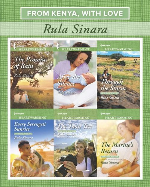 From Kenya, with Love series covers (THE PROMISE OF RAIN, AFTER THE SILENCE, THROUGH THE STORM, EVERY SERENGETI SUNRISE, THE TWIN TEST, THE MARINE'S RETURN)