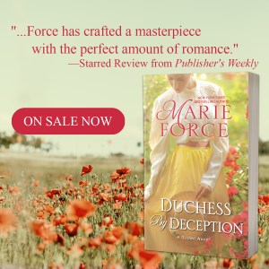"""""""Force has crafted a masterpeice with the perfect amount of romance,""""--Starred Review from Publisher's Weekly  On sale now: DUCHESS BY DECEPTION"""