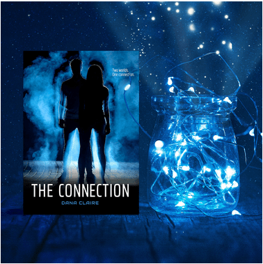 The Connection by Dana Claire promotional graphic - book cover and jar of string lights