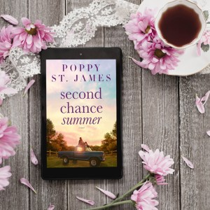 Second Chance Summer flatlay ereader with book cover and lace, purple flowers, and full tea cup on a rustic wood table
