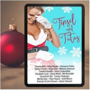 Tinsel and Tatas cover on an ereader, with a shiny red ornament in the background