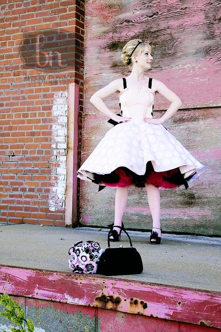 polka-dot wedding dress
