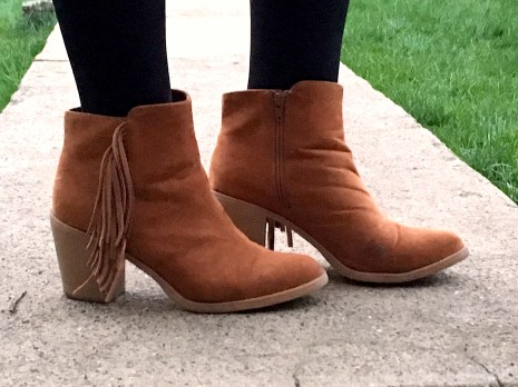 Fringed Camel Suede Booties H&M