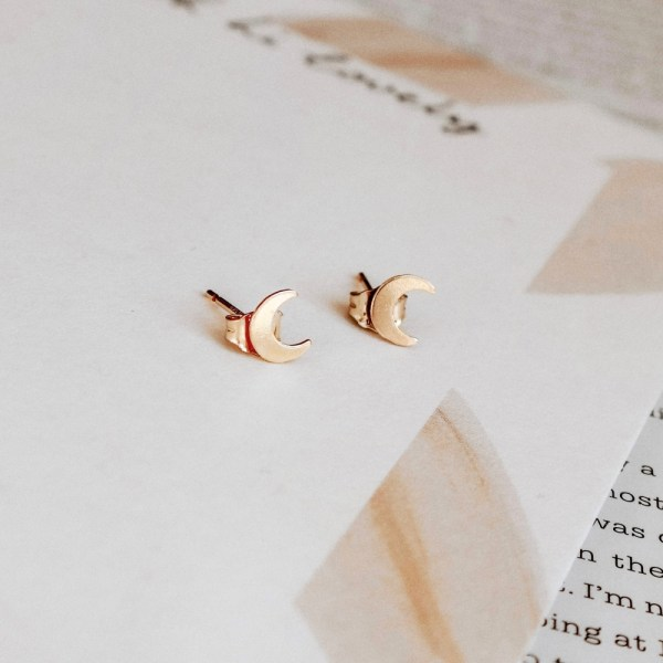 Crescent Moon Studs - Gold