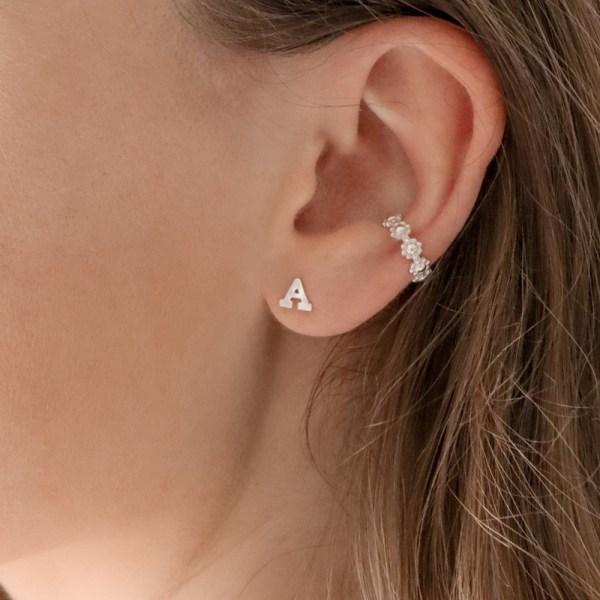 Initial Stud Earrings - Silver