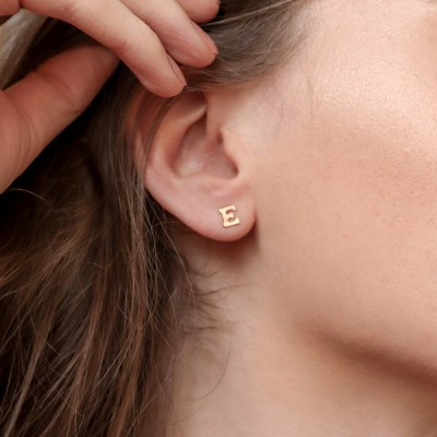 Initial Stud Earrings - Gold