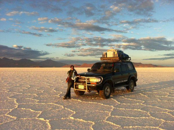 Jeep in Boliva's salt flats