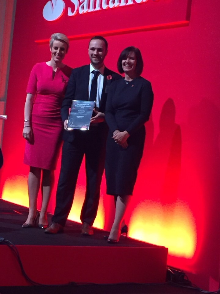 Andy Webb receiving Moneyblogger of the year runner up from BBC's Steph MCGovern