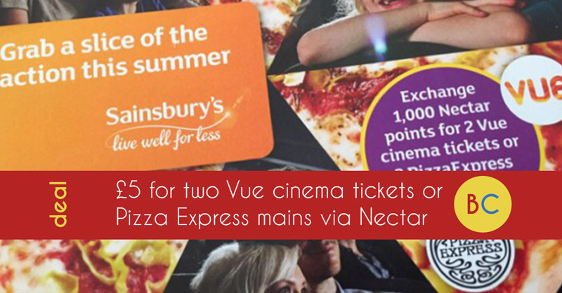 5 For Two Vue Tickets Or Two Pizza Express Pizzas With