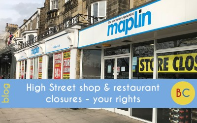 High street shop and restaurant closures – your rights