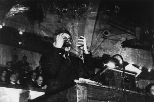 DENMARK. 1937. Copenhagen. The Ukranian politician Leon TROTSKY lecturing Danish students. Foto: Robert Capa