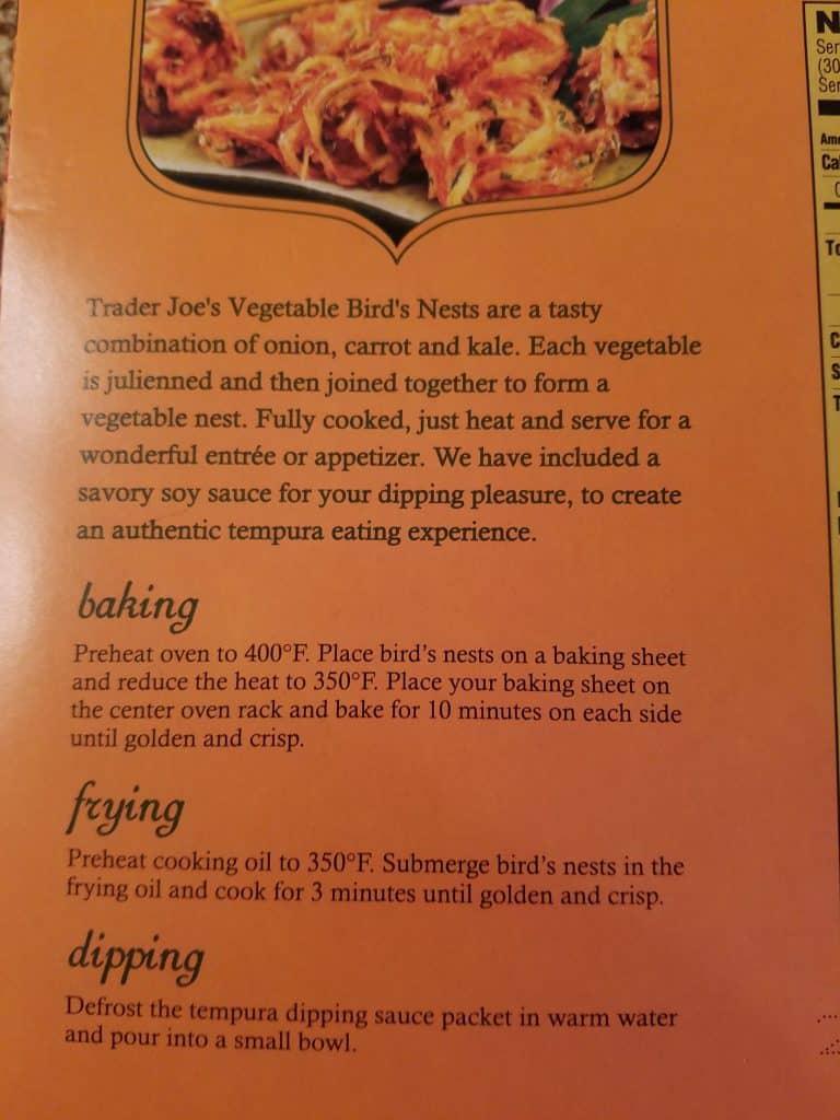 Trader Joe's Vegetable Birds Nests