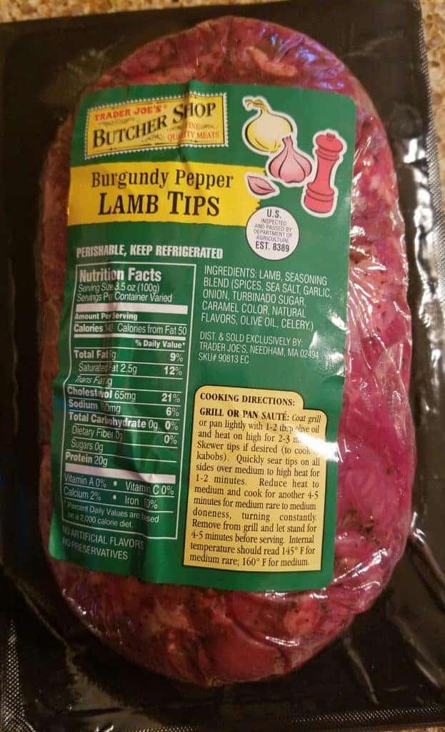 Trader Joe's Burgundy Pepper Lamb Tips